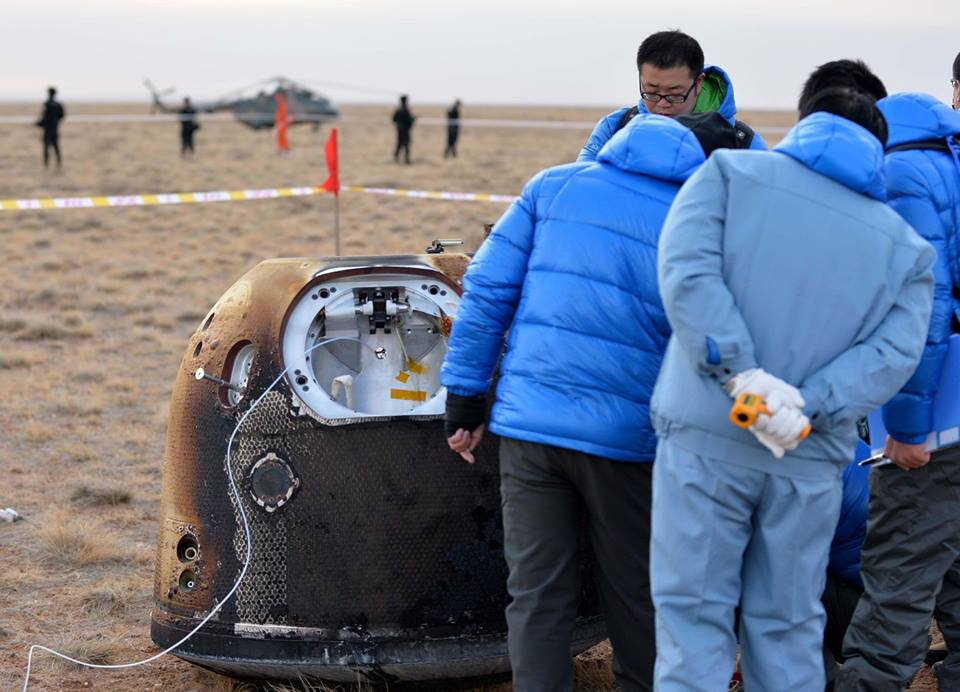 Retrieval Team Inspects China's Lunar Test Capsule