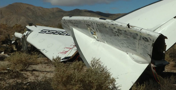 Debris from Virgin Galactic's SpaceShipTwo is seen on the Mojave Desert floor after breaking up in mid-flight during a failed test flight on Oct. 31, 2014. One pilot was killed and another injured in the test flight crash.