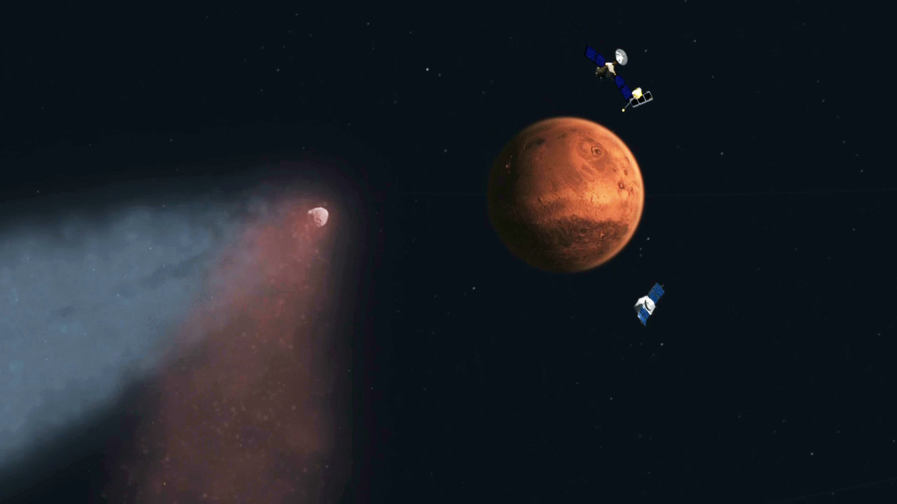 Comet Siding Spring Approaching Mars