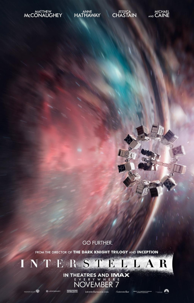 "A theatrical poster for the 2014 film ""Interstellar"" shows the spaceship Endurance flying through a wormhole."