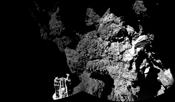 This photo from the European Space Agency is the Philae lander's view of its landing site on Comet 67P/C-G's surface. Image release Nov. 13, 2014.