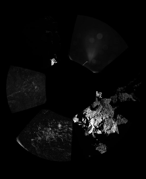 This first panorama from the surface of Comet 67P/Churyumov–Gerasimenko was captured by the Philae lander on Nov. 12, 2014 after its historic landing during the European Space Agency's Rosetta mission. ESA released the image Nov. 13 to show its first glimpses ever from the surface of a comet.