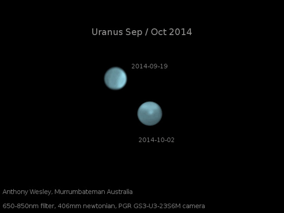Amateur astronomer Anthony Wesley of Murrumbateman, Australia, captured these images of Uranus on Sept. 19 and Oct. 2 of 2014. They show the dramatic appearance of a bright storm on the gas giant, scientists say.