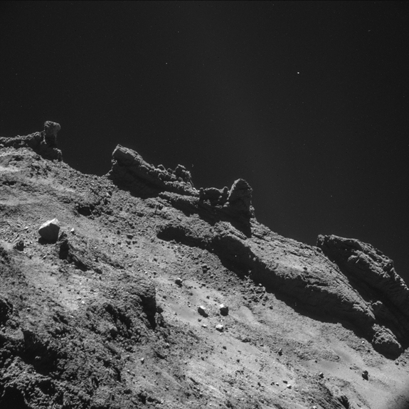 The strange, alien landscape of Comet 67P/Churyumov–Gerasimenko is seen in detail in this photo from the European Space Agency's Rosetta spacecraft captured in late October 2014 ahead of the Nov. 12 landing of Rosetta's Philae lander.