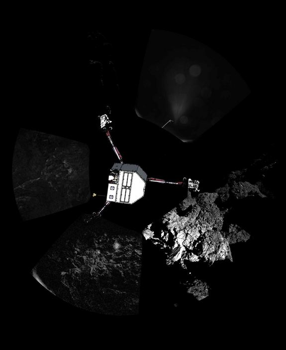 Europe's Philae lander took this panorama from the surface of Comet 67P/Churyumov–Gerasimenko after its historic touchdown on Nov. 12, 2014. Philae's body is superimposed on the image.