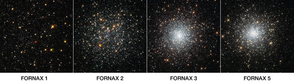 This NASA/ESA Hubble Space Telescope image shows four globular clusters in the dwarf galaxy Fornax. A huge population of stars appears to be missing from globular clusters in the area, scientists say.
