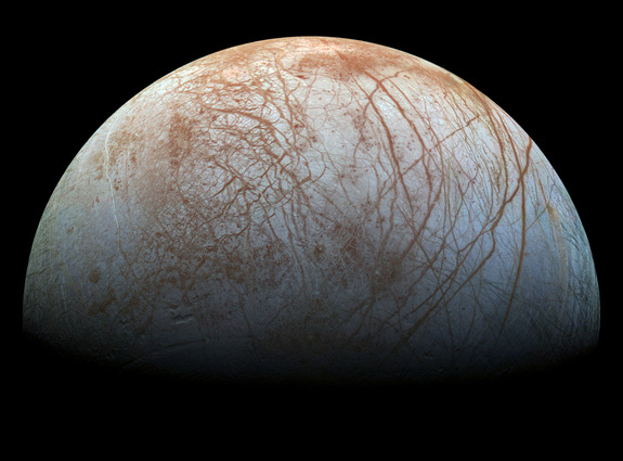 A remastered view of Europa based on information from the Galileo mission of the 1990s. The new version, from 2014, has more realistic colors that resemble what the Jupiter moon would look like to the human eye.