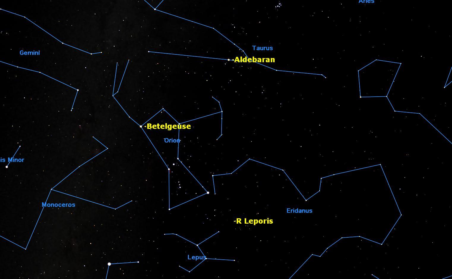 Sky Map of Aldebaran, Betelgeuse and R Leporis Stars