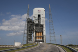 NASA's first Orion spacecraft and its Delta 4 Heavy rocket, built by the United Launch Alliance, are seen on the launch pad at the Cape Canaveral Air Force Station in Florida ahead of a Dec. 4, 2014 test flight.