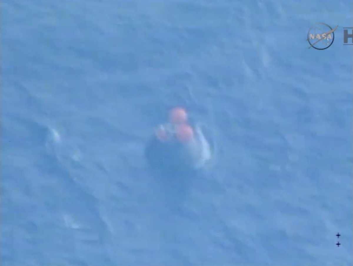 Orion Capsule Floats in the Pacific Ocean