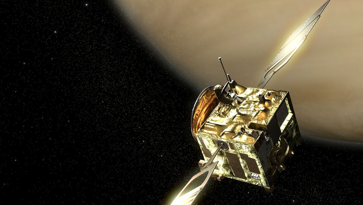 Artist's concept of Europe's Venus Express spacecraft, which has been studying Venus from orbit since 2006.