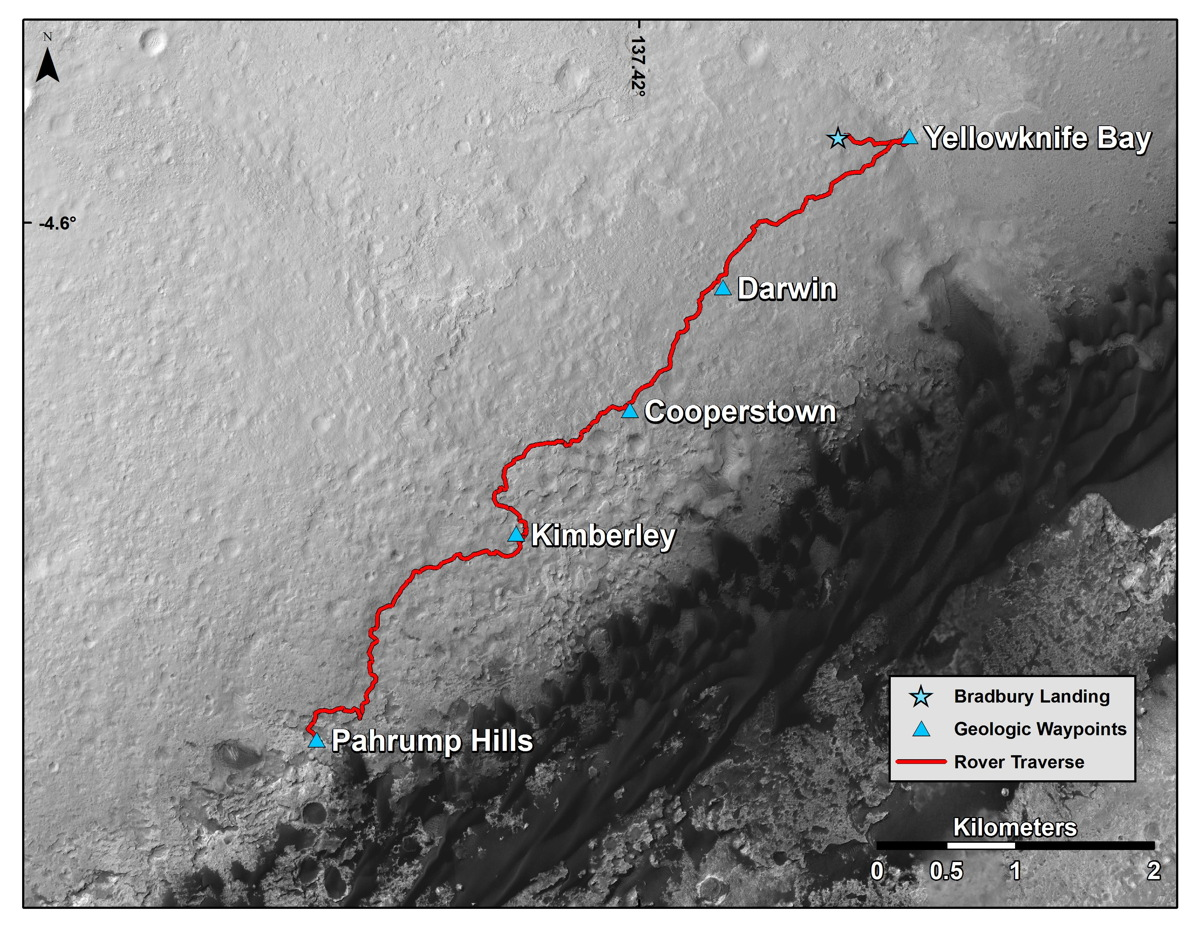 Curiosity Mars Rover's Route