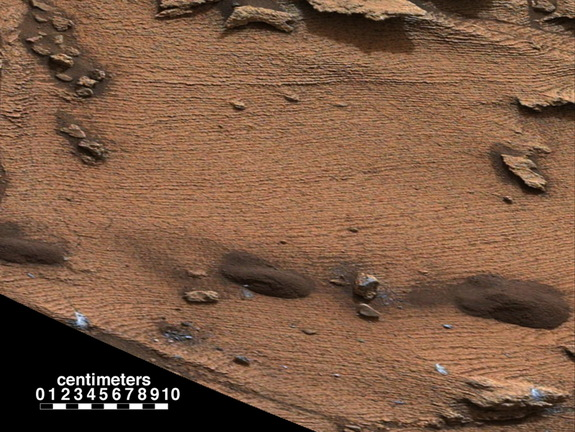 "Curiosity rover spotted an example of a thin-laminated, evenly stratified rock type that occurs in the ""Pahrump Hills"" outcrop at the base of Mount Sharp on Mars. Image released Dec. 8, 2014."