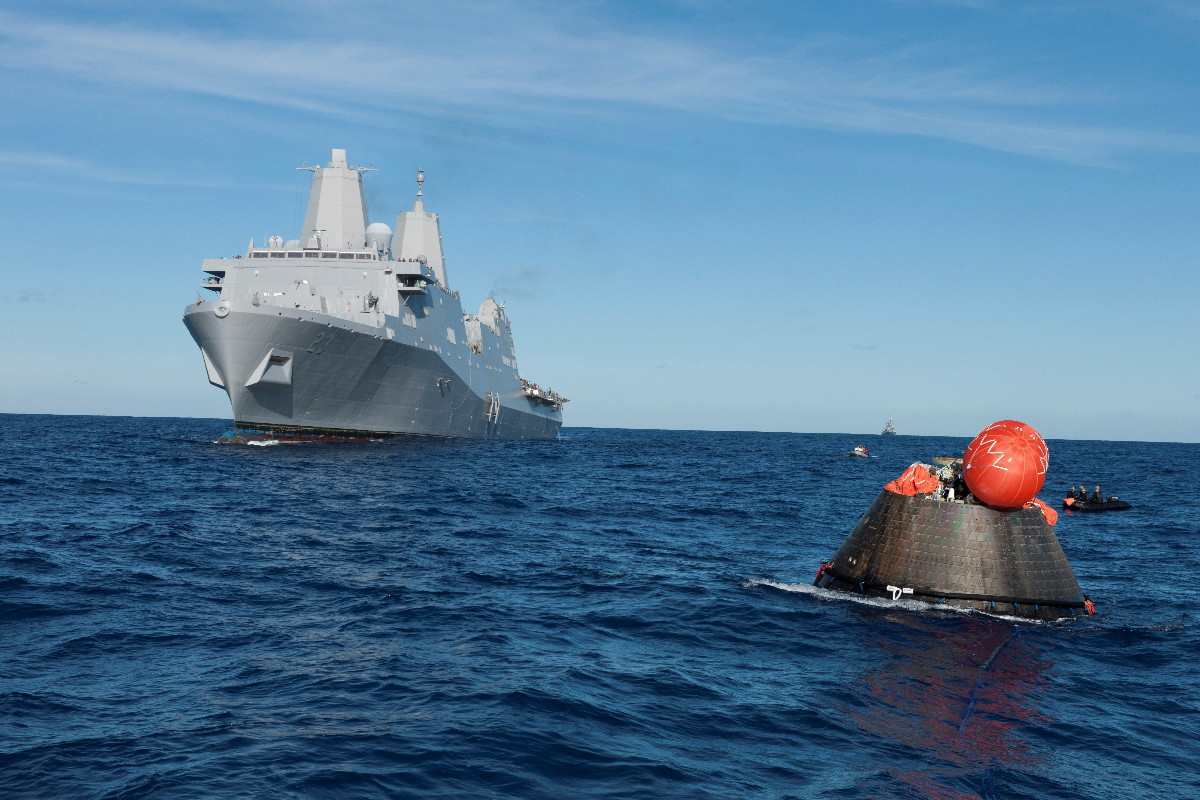 USS Anchorage Approaches Orion Capsule