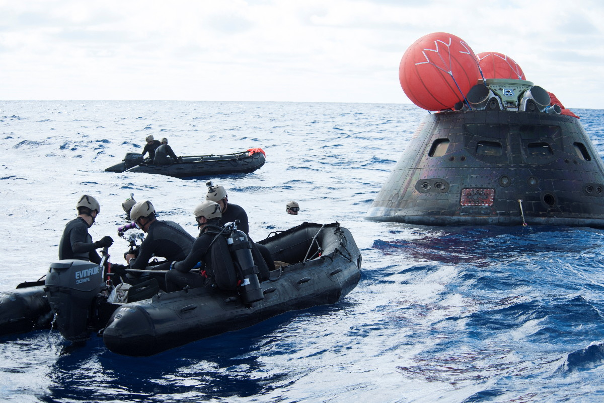Inflatable Boats Approach Orion Capsule