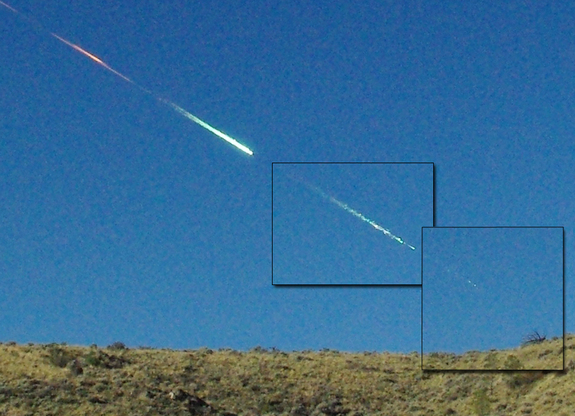A composite image showing how the Sutter's Mill meteorite fell in California in April 2012.