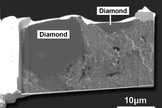 A secondary electron image revealing diamond crystals inside a fragment of a meteorite that fell in Sutter's Mill, California.