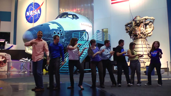 "NASA interns dance among space artifacts and a space shuttle mockup in ""All About That Space,"" a music video parody set to the tune ""All About That Bass"" by Meghan Trainor."