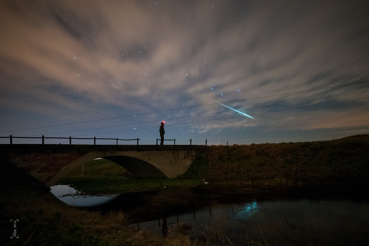 Self-Portrait with 2014 Geminid Meteor in Hungary