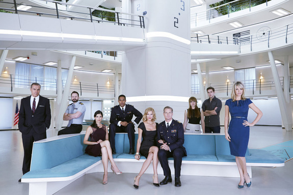 """The cast of SyFy's """"Ascension"""" are: (from left to right) Al Sapienza as Councilman Rose, Ryan Robbins as Duke Vanderhaus, Tiffany Lonsdale as Emily Vanderhaus, Brandon Paul as Aaron Gault, Tricia Helfer as Viondra Denninger, Brian Van Holt as Cpt William Denninger, Jacquelien Byers as Nora Bryce, P.J. Boudousqué as James Novack, Andrea Roth as Dr. Juliet Bryce."""