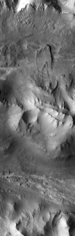 The central ridge of the Mars canyon Ius Chasma, captured by the Mars Odyssey spacecraft.