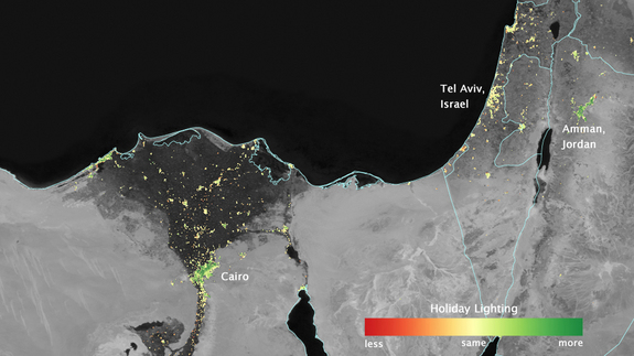 City lights brighten in several cities in North Africa and the MIddle East during the Muslim holy month of Ramadan, as shown by an analysis using data from the NASA-NOAA Suomi NPP satellite. Dark green pixels are areas where the lights are at least 50 percent brighter during Ramadan.