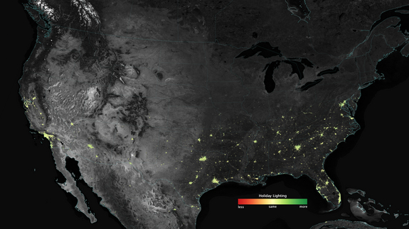 A look at how city lights shine brighter during the holidays in the United States, as shown using a new analysis of data gathered by the NASA-NOAA Suomi NPP satellite. Dark green pixels are areas where lights are at least 50 percent brighter during December.