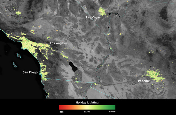 Image showing how Los Angeles, Las Vegas, San Diego and Phoenix shine more brightly during December. Scientists used data from the NASA-NOAA Suomi NPP satellite to create this view.