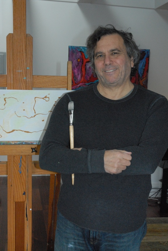 Edward Belbruno, pictured in his studio, draws on science and mathematics to create his art -- and vice versa.