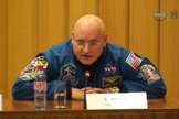 NASA astronaut Scott Kelly speaks to reporters during a news conference on Dec. 18, 2014, before his 2015 launch to the International Space Station for a one-year mission.