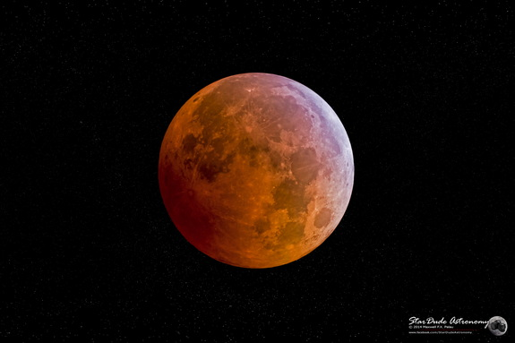 Astrophotographer Maxwell Palau captured the lunar eclipse in San Diego, California, on Oct. 8 — the second total lunar eclipse of 2014. Two more total lunar eclipses will occur in 2015.