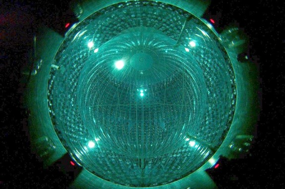Neutrinos produced in a specific fusion process in the heart of the sun were detected by the Borexino detector. The detector's inner shell — a nylon sphere filled with purified benzene — is seen here.