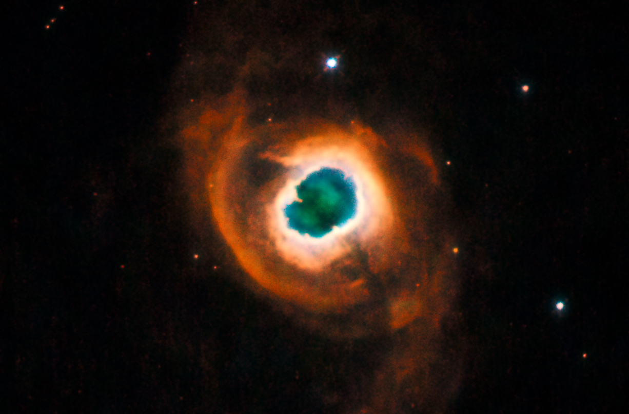 Planetary nebulas like Kohoutek 4-55 shown here in a photo from the Hubble Space Telescope provide the raw material for other stars and planets to form.