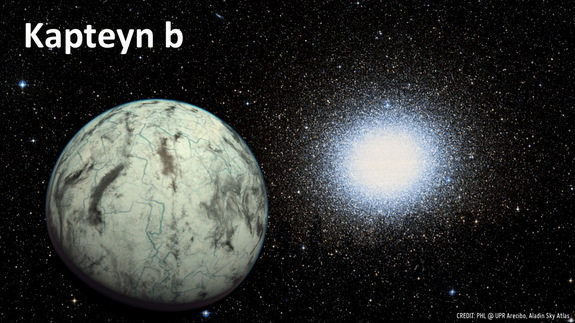 Artist's concept of the potentially habitable world Kapteyn b with the globular cluster Omega Centauri in the background. Kapteyn b lies just 13 light-years from Earth.