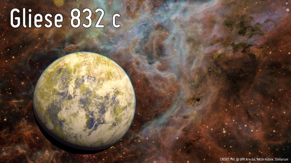 Artist's concept of the potentially habitable super Earth Gliese 832c, against a background of a stellar nebula.