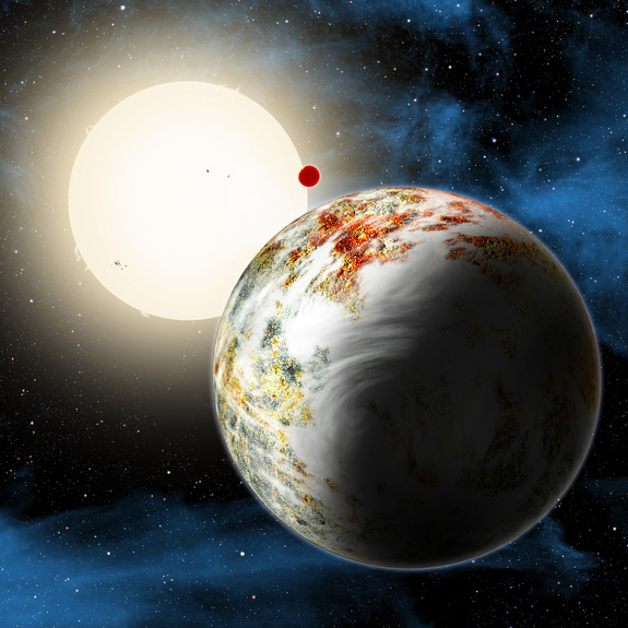 "Artist's concept of the exoplanet Kepler-10c, the ""Godzilla of Earths"" that's 17 times more massive than Earth. The planet and its lava-world sibling Kepler 10b (background) orbit the star Kepler-10 about 560 light-years from Earth."
