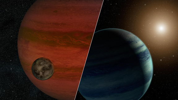 "Scientists have detected the first ""exomoon"" candidate. This artist's concept shows a possible view of the exomoon (left) and a version of the system if it is actually a star and planet. Researchers will likely never know which of these two possibilities actually represents reality."