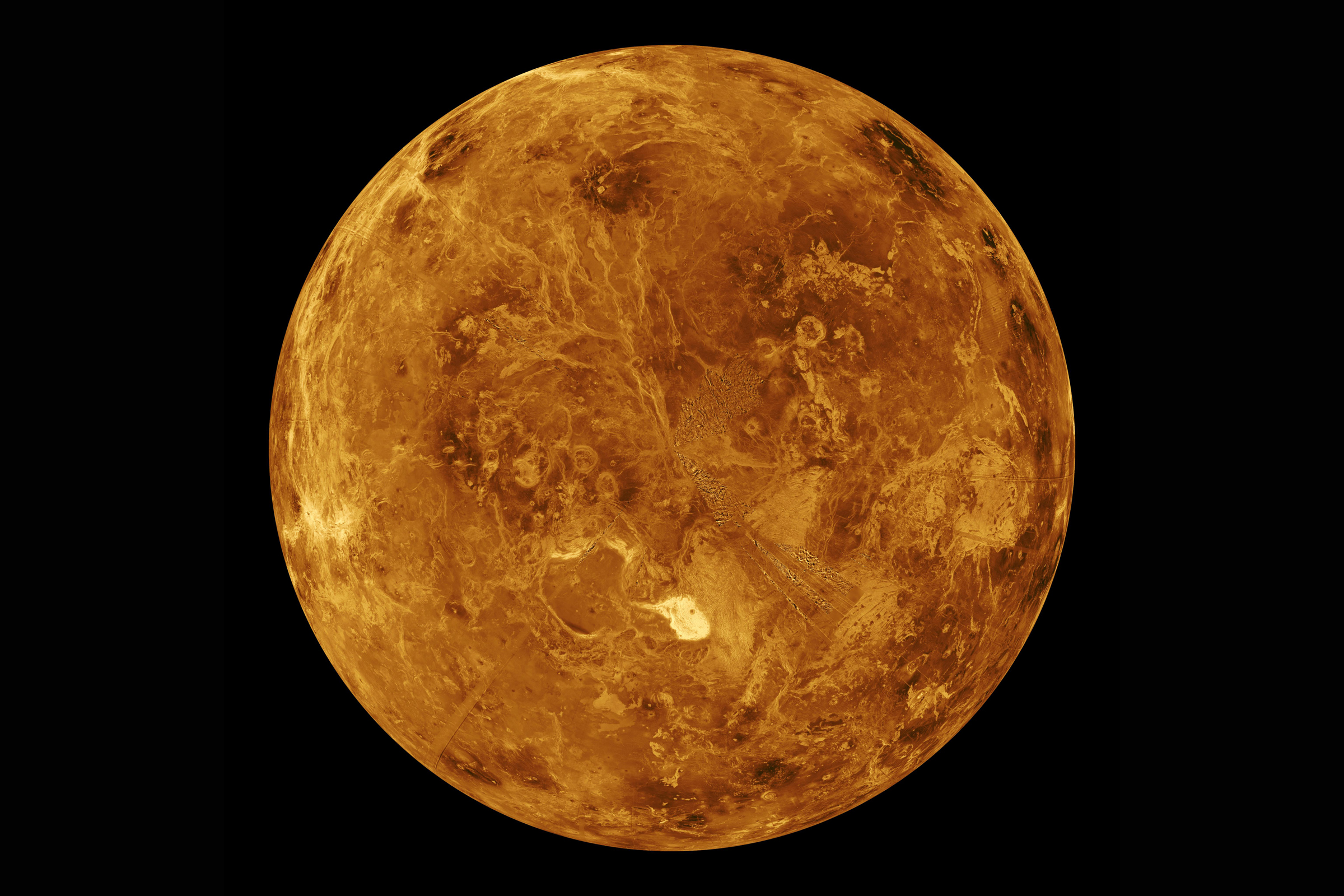 This image shows the surface of the northern hemisphere of Venus as observed by NASA's Magellan radar-mapping spacecraft, which peered through the planet's thick clouds during a mission that ended in 1994. Scientists now suspect Venus may have once harbor