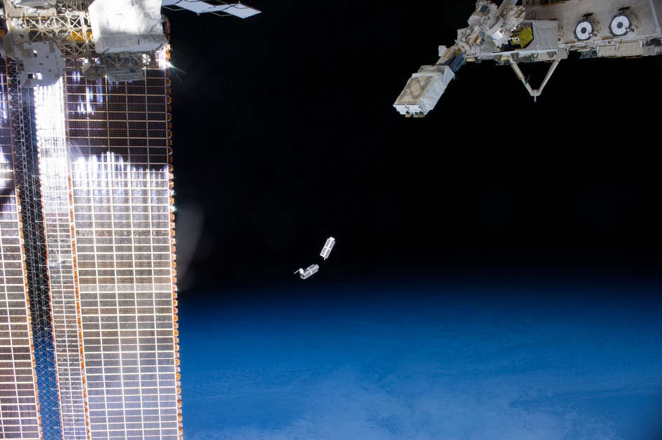 CubeSats being deployed from the International Space Station.