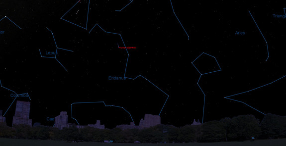 This sky map shows the location of Comet Lovejoy (C/2014 Q2) at 12 a.m. on Jan. 6, 2015 in the southwestern night sky as seen from mid-northern latitudes. Sky map provided by Starry Night Software.