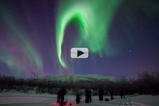Auroras Rage Over Sweden - 'Real-Time' and Slightly Faster Views | Video