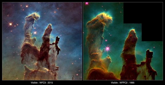 This comparison view shows the Eagle Nebula's famed Pillars of Creation as seen by the Hubble Space Telescope in 1995 (right), and again 20 years later in 2015. The new image was captured by Hubble's Wide Field Camera 3, installed in 2009, which offers a clearer view of glowing oxygen, hydrogen and sulfur.