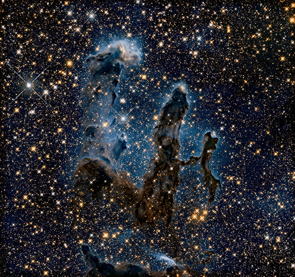 An infrared view of the Eagle Nebula reveals many of the stars at the heart of its pillars.