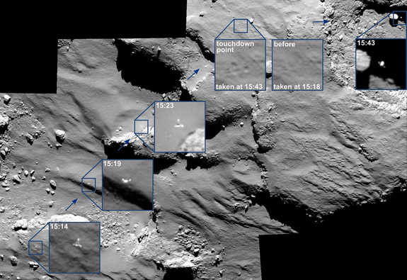 The European Space Agency's Rosetta spacecraft is studying the Comet 67P/Churyumov-Gerasimenko at close range. On Nov. 12, 2014, Rosetta's small Philae probe landed on the surface of the comet in a historic space first.