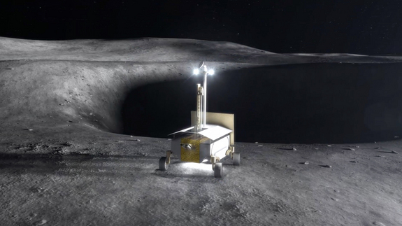 In coming years, government-sponsored and private-sector spacecraft will land on the moon. This image shows a resource prospector carrying a Regolith and Environment Science and Oxygen and Lunar Volatile Extraction (RESOLVE) experiment. The intent of the effort is to find, characterize and map ice and other substances in almost permanently shadowed areas of the moon.
