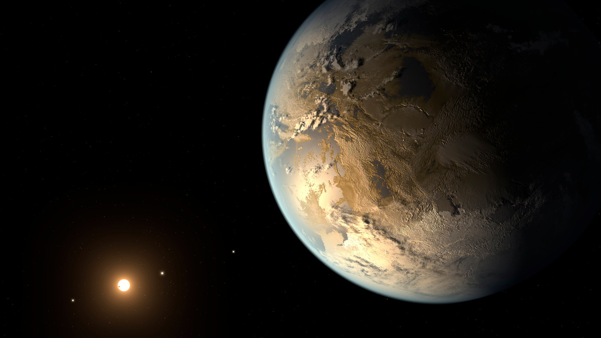 Artist's concept of Kepler-186f, the first Earth-size planet found orbiting in the habitable zone of its parent star. The exoplanet circles a red dwarf about 490 light-years from Earth.