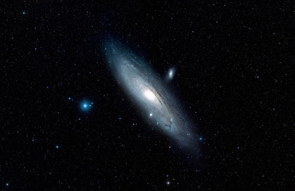 A Digitized Sky Survey image shows the area around the Andromeda galaxy (M31). Image released Jan. 5, 2015.