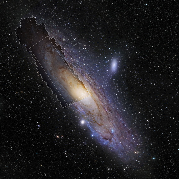 This wide-field view shows the Andromeda Galaxy (M31) The extent of the new PHAT survey of Andromeda using the NASA/ESA Hubble Space Telescope appears in the irregularly shaped region, and the rectangle within represents the main image of this article. Image released Jan. 5, 2015.