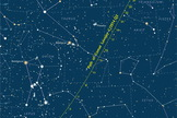 A detailed finder chart shows where to look for Comet Lovejoy during January 2015. The dates' tick marks indicate the position at 0:00 Universal Time (7 p.m. on the previous date Eastern Standard Time).
