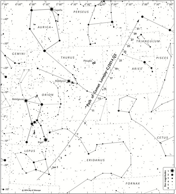 A detailed finder chart shows where to look for Comet Lovejoy during January 2015. Skywatchers can use this black-and-white version outside in dim light. The dates' tick marks indicate the position at 0:00 Universal Time (7 p.m. on the previous date Eastern Standard Time).